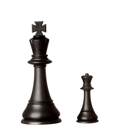 Big black king and small queen isolated on a white background