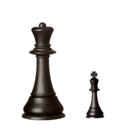 Big black queen and small king isolated on a white background Stock Photo