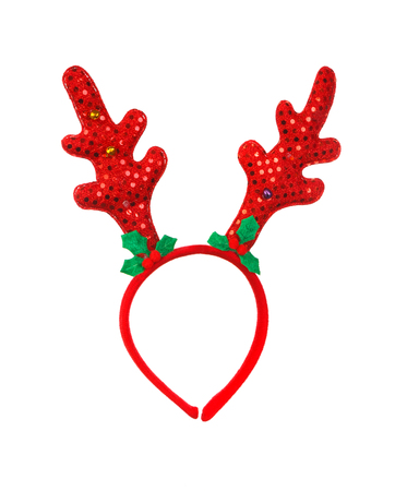 Toy reindeer horns isolated on a white background.