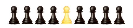 Many pawns black and other one yellow isolated on a white background
