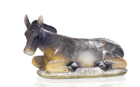 Figure of a mule for the Nativity Potal isolated on a white background Stock Photo