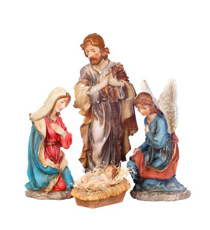 Scène van de geboorte van Christus geïsoleerd op een witte achtergrond Stockfoto