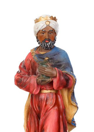 Baltasar, one of the three wise men. Ceramic figure isolated on white background Stock Photo