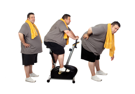 Sequence of a big men doing sport isolated on a white background Banque d'images