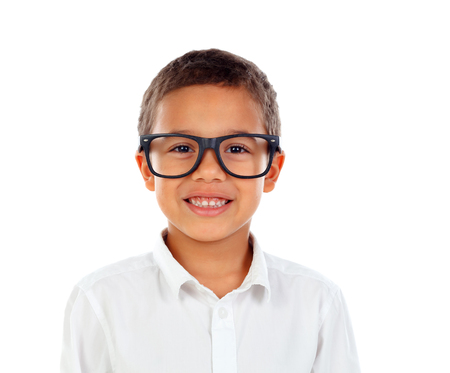 Funny child with big glasses isolated on a white background