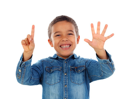 Adorable child counting with his fingers isolated on a white background Archivio Fotografico