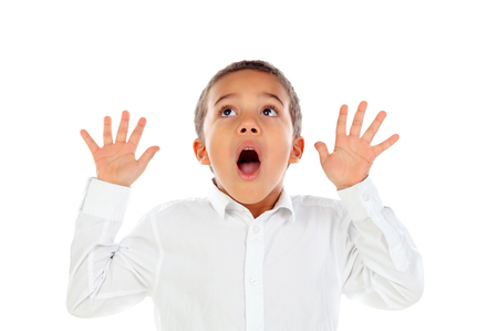 Surprised child open his mouth isolated on a white background