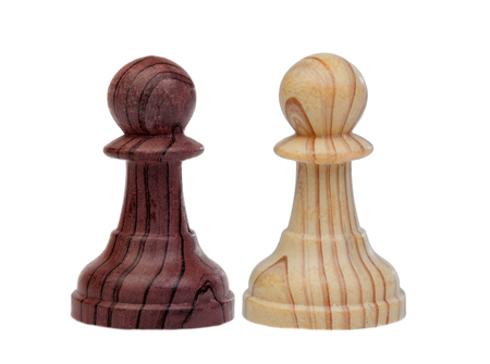 Two different pawns of chess isolated on a white background Reklamní fotografie