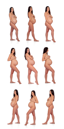 Sequence of brunette pregnant woman isolated on a white background