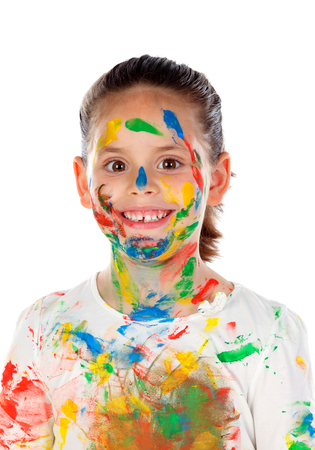 Funny girl with hands and face full of paint isolated on a white background