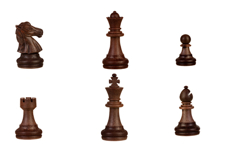 Wooden brown chess pieces isolated on a white background