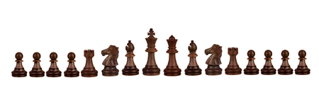 Wooden chess figures isolated on a white background