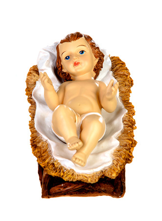 Baby Jesus Christmas rustic isolated on a white background Stockfoto - 112623637