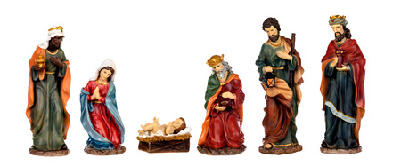 Ceramic figures for the nativity scene isolated on a white background Standard-Bild