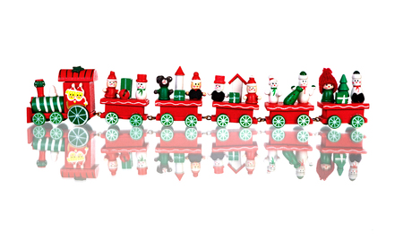 Red Christmas train isolated on a white background Stock Photo