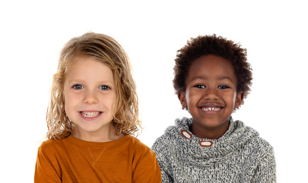 Two children looking at camera isolated on a white backround