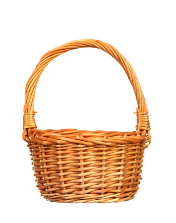 Handmade basket of wicker isolated on a white background