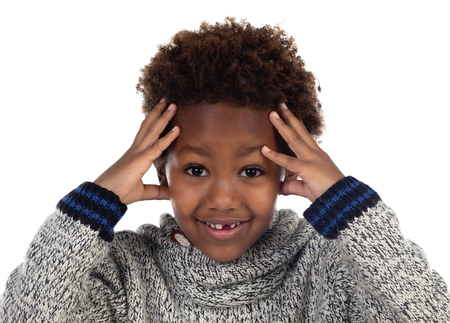African child covering his head isoalted on a white background Stockfoto