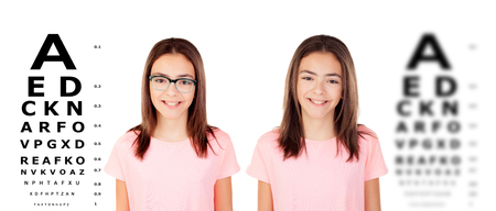 Adorable teenager girl with glasses checking her view