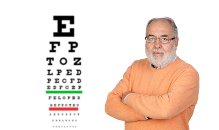 Senior man with glasses checking his view Stock Photo