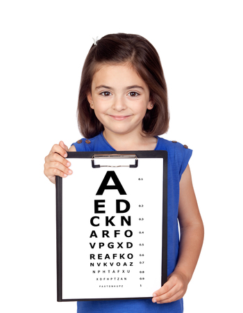 Beautiful child holding a vision exam chart isolated on a white background