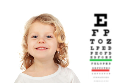 Child with a vision exam chart isolated on a white background