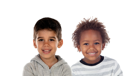 Happy children looking at camera isolated on a white backround