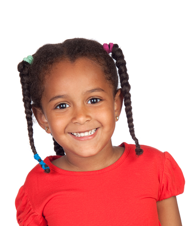 Happy african child with braids and red tshirt isolated on a white background