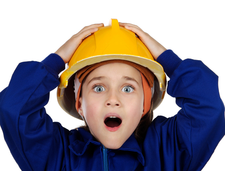 Small surprised worker with yellow helmet opening her mouth isolated on a white background