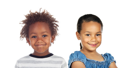 Two adorable african and latin children isolated on a white background