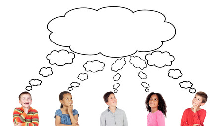 Pensive children thinking about something isolated on a white background Imagens - 122887472