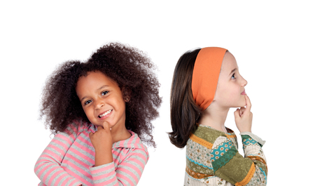 Funny pensive children isolated on a white background