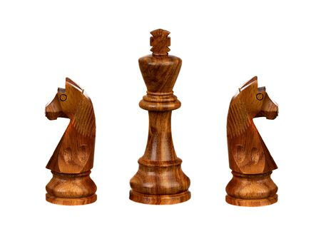 Brown chess pieces isolated on a white background Stock fotó
