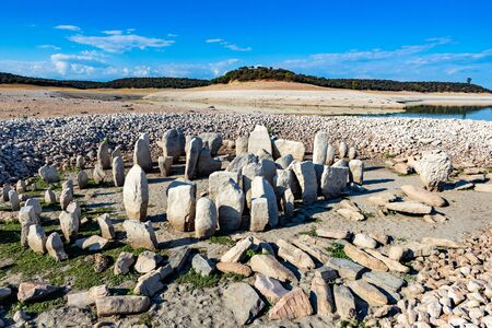 Many Megaliths forming a circle. A sacred place in Spain Stock Photo