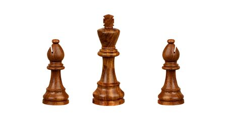 Two bishops next a king. Chess pieces isolated on a white background Stock Photo