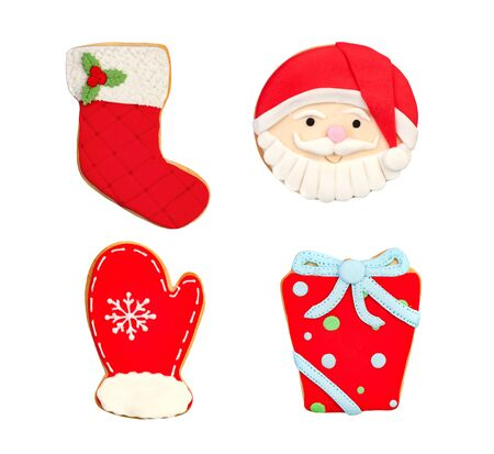 Funny cookies for Christmas isolated on a white background