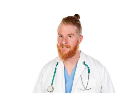 Funny redhead doctor isolated on a white background