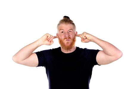 Red haired man with long beard covering his ears isolated on a white background
