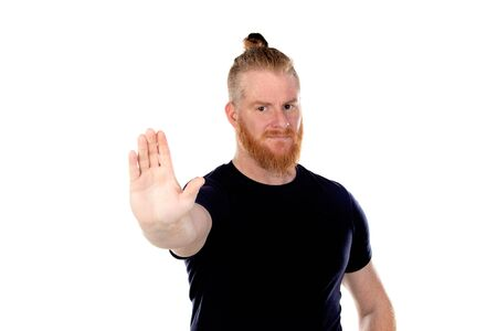 Red haired man with long beard saying Stop isolated on a white background