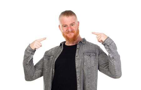 Redhead man isolated on a white background