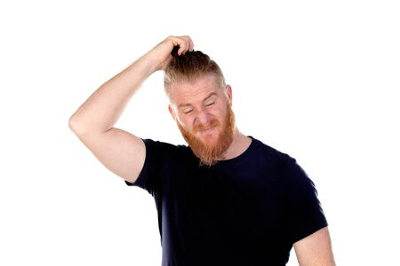 Red haired man with long beard thinking isolated on a white background