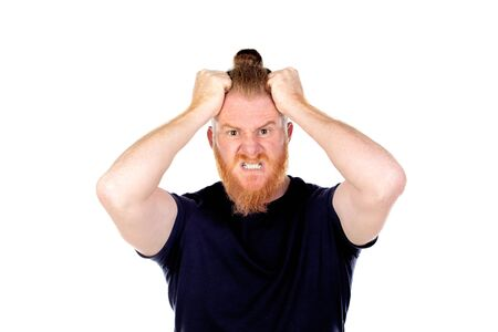 Red haired man with long beard isolated on a white background