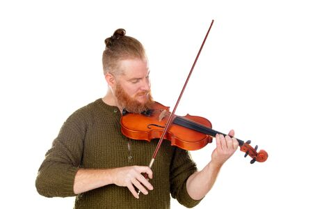 Redhead violinist playing the violin isolated on a white background