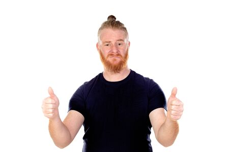 Red haired man with long beard saying Ok isolated on a white background