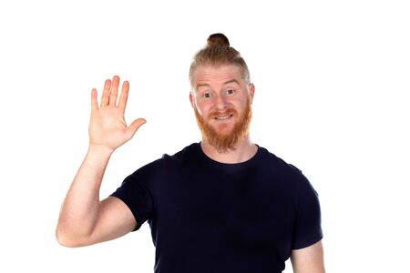 Red haired man with long beard raising his right hand isolated on a white background