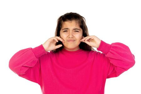 Adorable preteen girl with pink jersey isolated on a white background