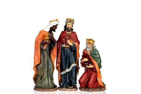 The three wise men. Ceramic figures isolated on white background Banque d'images