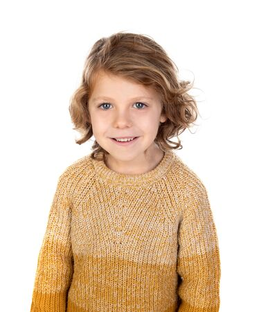 Happy blond child with long hair isolated on a white background