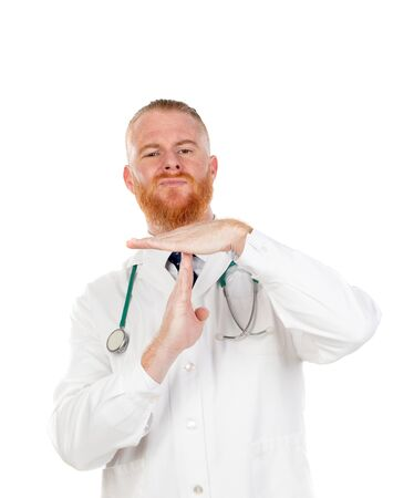 Redhead doctor doing time out gesture with his hands isolated on a white background