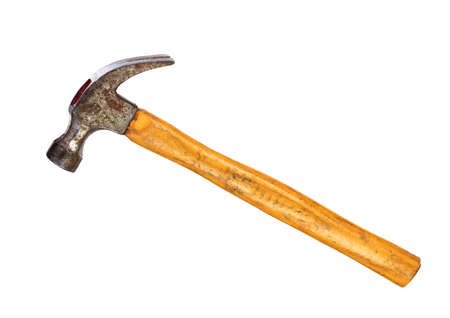 Hammer with wooden handle isolated on a white background Stock Photo
